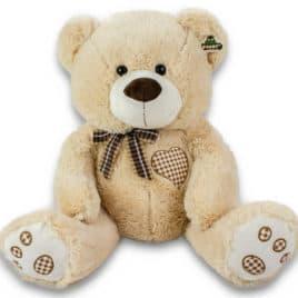 30374-Pluche beer beige hartje 55cm