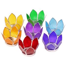 Lotus Chakra Sfeerlichtjes Zilverrand Set 7 Stuks