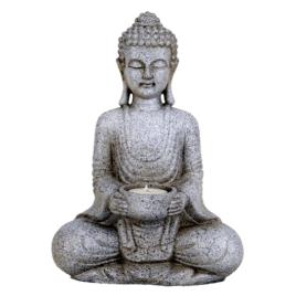 Meditatie Boeddha Kaarshouder Steengrijs 27 cm