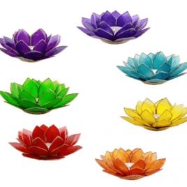 Lotus Chakra Sfeerlicht Zilverrand 13.5cm Set 7 Stuks