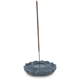Lotus Kaars- en Wierookhouder Zeepsteen Grijs 10cm Wierook