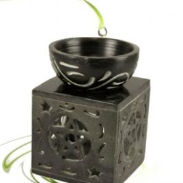 Olieverdamper Pentagram Zwart Zeepsteen 11 x 8 cm