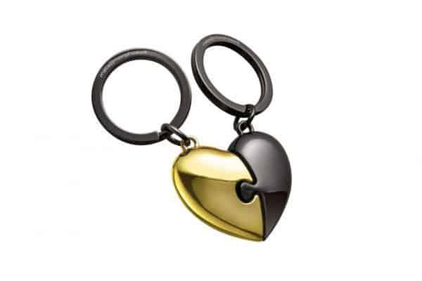mtm116-01 hart puzzel sleutelhanger 2 delen goud mat